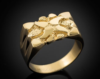 Mens Polished Gold Nugget Ring