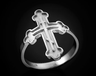 Sterling Silver Russian Eastern Orthodox Cross Ring