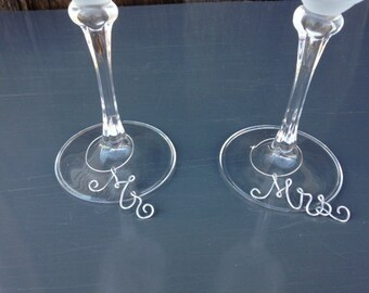 Mr. and Mrs. Wine Glass Charms, Wire Wine Glass Charms, Wine Charms, Wine glass Tag, Wine Accessories, Wedding Charms, Glass Charms, Wine