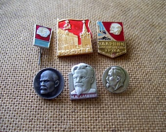 Set of 6 Soviet Pin Badge Metal Icon