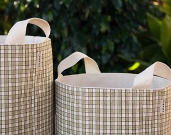 Fabric Storage Box. Fabric Organiser. Storage bin. Fabric Storage Basket. Green check fabric.