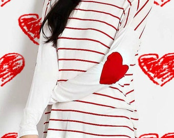 Heart Elbow Patch Striped Knit Top
