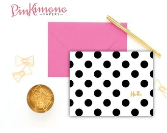 8 Polka Dot Hello Note Cards In English, French & Spanish - Dotted Greetings