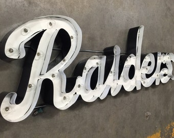 Custom Handmade Replica - Oakland Raiders Marquee Sign - Raiders Marquee Sign - Raiders Custom Sign - Marquee Custom Sign - Raiders Sign