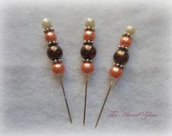 Orange Brown Pearl Fall Stick Pin Set (RN1021)