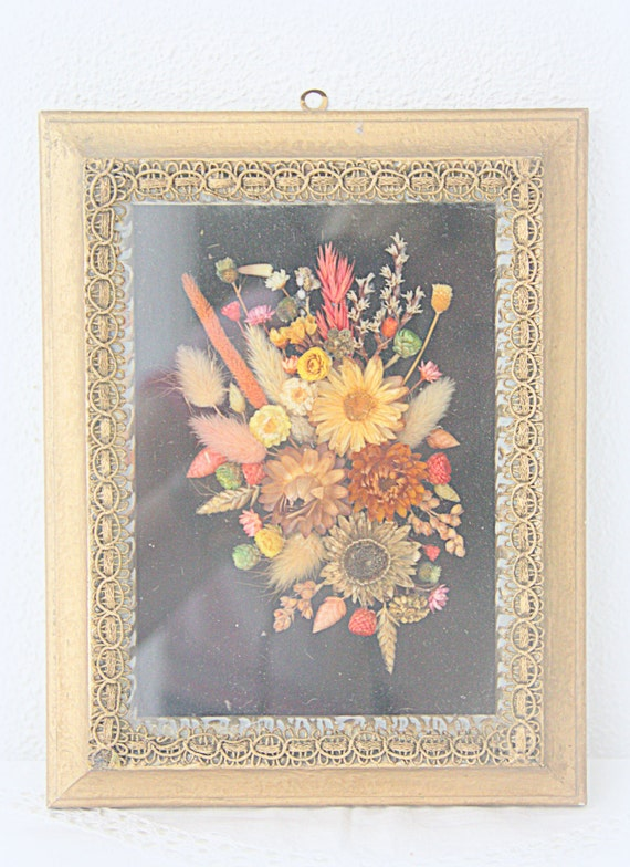 Vintage Gilded Wooden Frame with Dried Flower Bouquet under Glass, Lace Rim