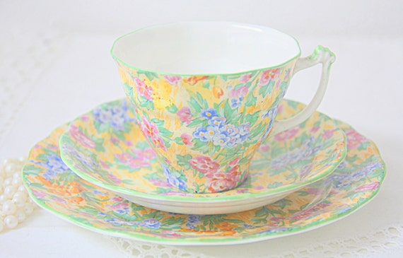 Vintage Sampson Smith Old Royal Bone China Tea Trio, Small Plate and Cup and Saucer, Chintz Pattern
