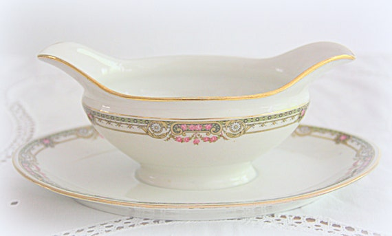 Vintage Limoges Porcelain Gravy Boat/Sauce Boat with Attached Underplate, Pink Flower Guirlandes, France