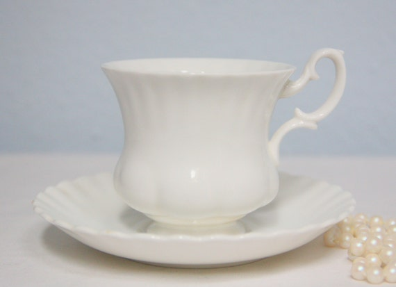 Vintage Royal Albert Bone China White Cup and Saucer, Lady Size