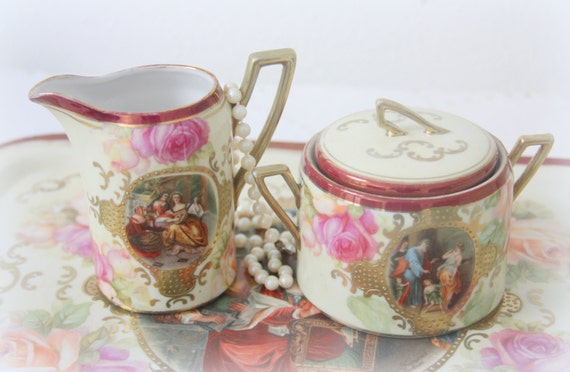 Vintage Porcelain Serving Tray, Sugar Bowl and Creamer Set, Cameo Portrait and Roses Decor, Handpainted, Coffee Set, Tea Set, Germany
