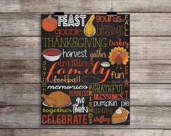 Thanksgiving Subway Art, Thanksgiving Wall Art, Printable Thanksgiving Decor, Thanksgiving Poster, Thanksgiving Wall Decor, Friendsgiving