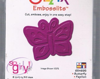 NEW Sizzlit Sizzlits Embosslits Die BUTTERFLY (654695) cut & emboss  Works with Cuttlebug scrapbooking handmade card making embellishment