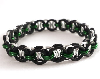Stretch Chainmaille Bracelet - Helm Chain - Choose Accent Color