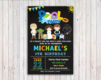 Star Wars Pool Party Invitation, Pool Party Invitation, Star Wars Party Invitation Printable, Superhero Birthday Party