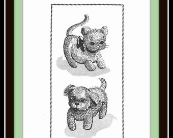 DOG and CAT Crochet Pattern Adorable Stuffed Pets Toy Vintage Mail Order Design 7193