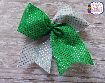 Green Cheer Hair Bows,Cheer Bows,Green and Silver Cheer Bows,Silver and Green Cheer Hair Bows,Green Cheer Bows,Big Bling Cheer Bows.
