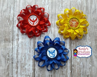 Team Valor Hair Bows,Team Mystic Hair Bows,Team Instinct Hair Bow,Pokemon Hair Bows,Pokemon Bow,Valor Bows,Instinct Bows,Mystic Bows,Pokemon