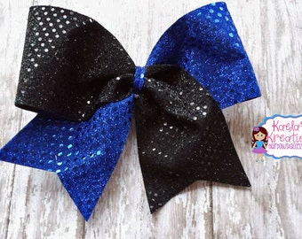 Blue and Black Cheer Bows, Black and Blue Cheer Bows, Cheer Hair Bows, Cheer Bows, Blue and Black Hair Bows, Black and Blue Hair Bows.