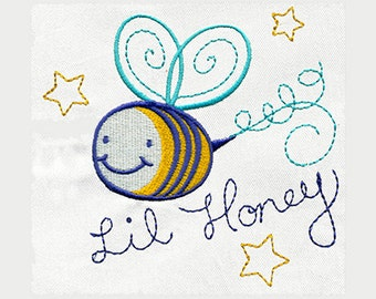Lil Honey Bee Embroidery Design - Instant Digital Download