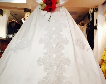 1950's Silk French Lace Wedding Gown