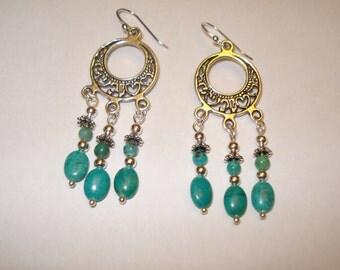 Genuine, Turquoise Bead, Dangle Earrings