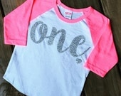 1 Year Old Birthday glitter Shirt Girl Five Year Old Birthday Shirt Birthday Girl Outfit Raglan Toddler Shirt one Birthday Shirt 102