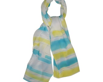 Hand-Painted Scarf, Yellow, Turquoise and Grey / Women's Scarf / Silk Scarf / Spring Scarf / Summer Scarf / Scarf / Hand-Dyed Scarf