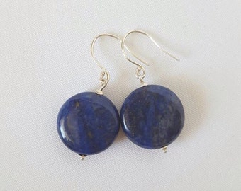 Lapis lazuli coin and sterling silver earrings