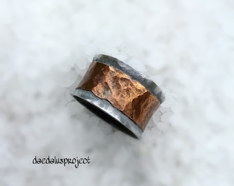 Copper ring. Double strap, handmade, hammered copper ring, double ring, band, band, silvered rings, jewellery, jewels, hammered, oxidized