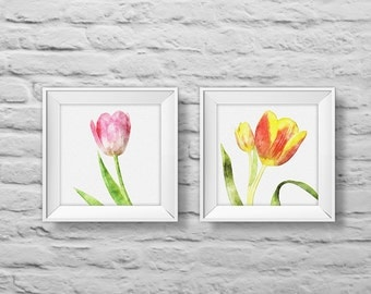 Floral Bouquet #7 TULIPS (set of two) square unframed art prints, nature, floral, watercolor, photography, wall decor. (R&RBOUQUET7)