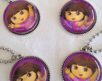 Dora the Explorer Pendant Necklace, Dora the Explorer Backpack Charm, Dora the Explorer Party Favor for Loot Bags Set