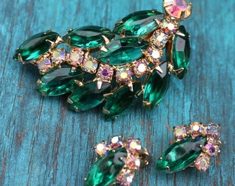 Vintage DeLizza and Elster Juliana Emerald and Aurora Borealis Earrings & Brooch/Pin