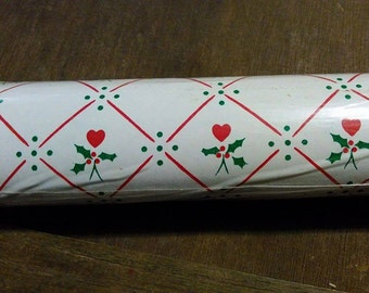 Vintage 1985 Christmas Contact Paper / Rubbermaid / Red / Holly / Hearts / A 21 / Paper / Sticker / Kitchen / Crafting