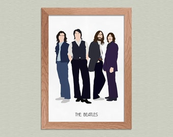 The Beatles- 1969 - John Lennon, Paul McCartney, George Harrison, Ringo Starr Poster - Minimalist Art Print - Music Art