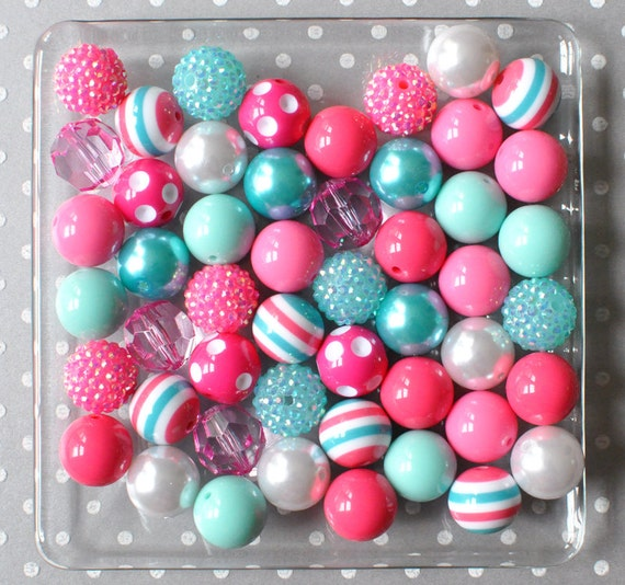 20mm Bead Beads: 20mm Beads Gumball Chunky Beads Bulk Aqua And Hot Pink