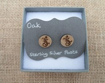 Oak Gecko Stud Earrings