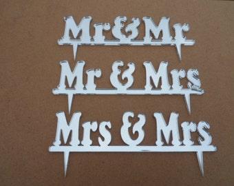 Mr & Mrs Silver Acrylic Mirror Cake Topper