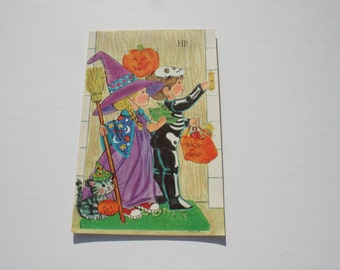 Vintage Unused Trick or Treat Halloween Card,  Witch Skeleton Cat, 70s 1970s Happy Halloween Greeting Card, Rousana by L Mallin