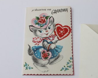 Vintage Cute Kitten Valentines Day Card For Grandma, Unused Cat Valentines Day Cute Card with envelope