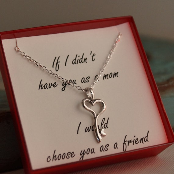 Gift for Mom - Sterling Silver or Gold Filled - Heart Key Charm - Mother daughter necklace
