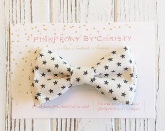 Ivory/Cream bowite - Ivory star bowtie - Grey and ivory - Daddy and son - brothers and sisters - matching bows - Ring bearer's bowtie