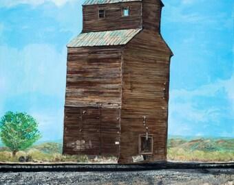 Grain Elevator outside Billings, MT, Historic Building near RR tracks, Old West Building, Montana Art, Prairie Art, LE print