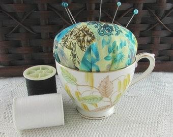 Pin Cushion in Vintage Bone China Tea Cup