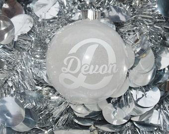 Christmas Glitter Ornament - Snow Ornament - Glitter Ornament - Round Ornament - Monogram Ornament - Name Ornament - Letter Ornament - Snow
