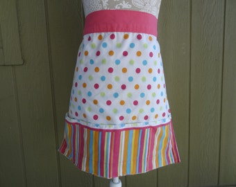Cotton APRON Pink Teal Coral polka dot, stripes, pockets, handmade
