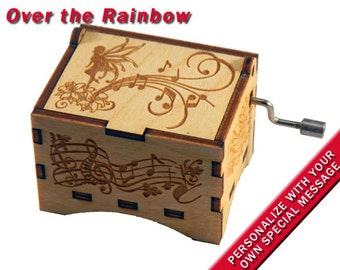"Fairy Music Box, ""Over the Rainbow"", Laser Engraved Wood Hand Crank Music Box"