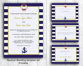 Nautical Personalized Wedding Invitation Template Anchor Wedding DIY Invitation Template Set - Printable Nautical wedding invites