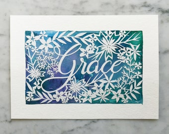 Personalized Name Papercut with Watercolor Background