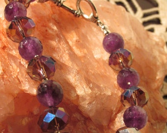 "Hand Made Sale Amethyst and Crystal Bracelet 8 1/2"" 925 Sterling Silver Toggle"