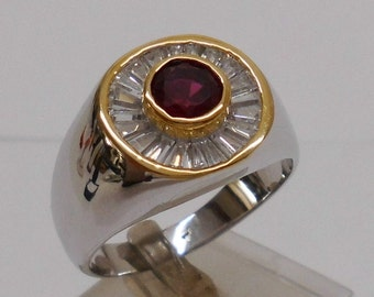 925 Silver ring with Ruby in a gold 21 SR455